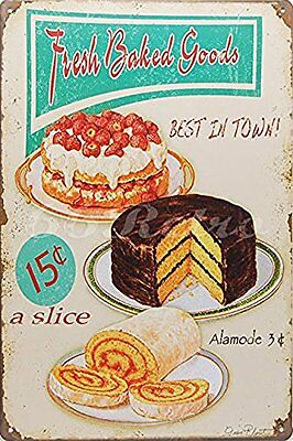 66Retro Fresh Baked Goods Best in Town!, Metal Tin Sign, Wall Decorative Decor