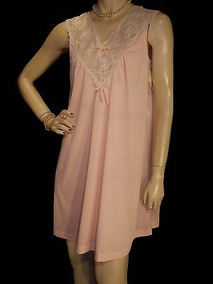 S NOS Vintage 60s 70s Gilead SHEER CORAL PINK NYLON LACE WALTZ GOWN NIGHTGOWN