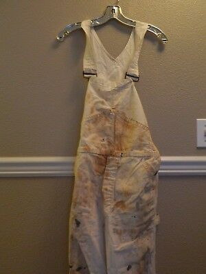 Vtg. BIG MAC Painter Bibs white Painting Overalls PAINT STAINS See Measurements