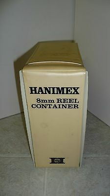 Vintage Hanimex 8mm Reel File Container With 6 New Unused Clear Plastic Reels