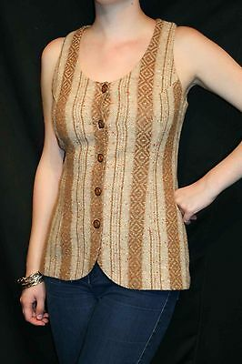 S Nubby Brown Stripe Vtg 60s College Town Scoop Neck Fitted Vest Blouse Shirt