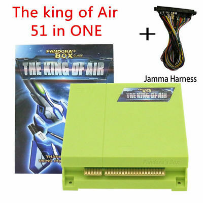 51 in 1 Pandora' s Box The King of Air Vertical PCB JAMMA  Board with Harness