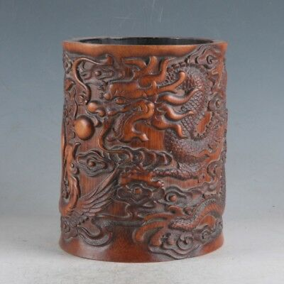 Exquisite Bamboo Wood Hand Carved Dragon & Phoenix Brush Pot DY11