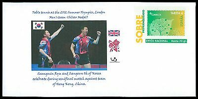 SPAIN PRIVAT-GA GANZSACHE TISCHTENNIS TABLE TENNIS KOREA PRIVATE COVER RARE cg01