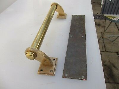 Antique Bronze Door Handle Set Shop Pull Finger Plate Vintage Edwardian Deco 14""