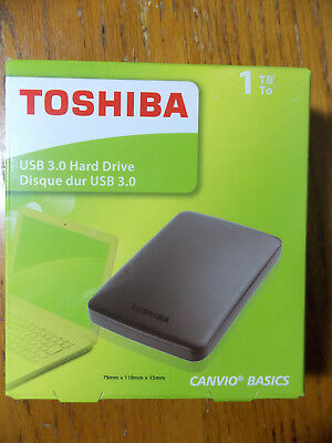TOSHIBA NEW 1TB USB3.0 Portable External Hard Drive Canvio Basics 1 Terabyte HDD