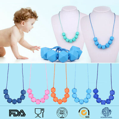 Kids Teething Necklace Hexagon Silicone Beads Baby Chew Sensory Jewelry BPA Free