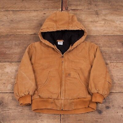Childs Vintage Carhartt Duck Brown Hooded Cotton Jacket Small 8-10 Years R6618