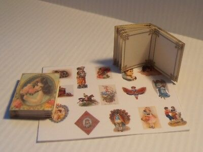 dolls house miniature Vintage style childrens Scrap Album & scraps to cut out!
