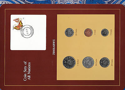 Coin Sets of All Nations Zimbabwe w/card 1980-1991 UNC $1 1980 1,10,20 cent 1991