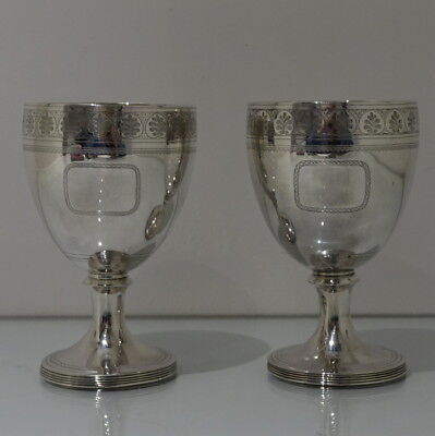 Early 19th Century Antique George III Sterling Silver Pair Wine Goblets 1809