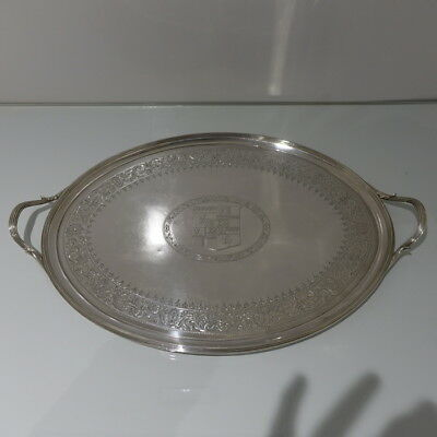 19th Century George III Antique Sterling Silver Oval Tray London 1793