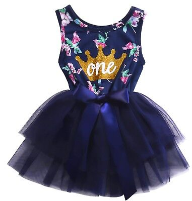 1st Birthday Party Blue Floral Tutu Outfit Dress Size 1 (Tag Size 80) One Crown