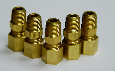"""1/4"""" Male Pipe  X  1/4"""" Tube OD Compression Fitting   5pcs.  (Brass)"""