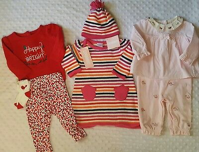 Gymboree Infant Baby Girl 3-6m months Outift Sets Hat Sock Lot Pink Red Winter