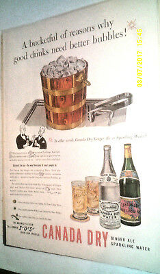 1940 Canada Dry Water & Pale Ginger Ale Soda Original Ad