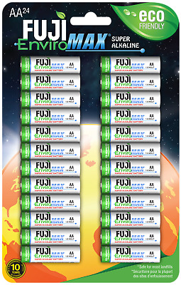 AA Batteries Fuji EnviroMax Super Alkaline 1.5V Eco Friendly Pack Of 24