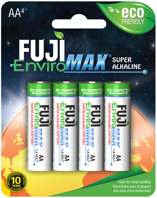 AA Batteries Fuji EnviroMax Super Alkaline 1.5V Eco Friendly Pack Of 4