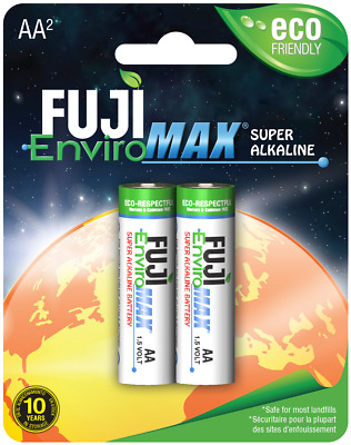 AA Batteries Fuji EnviroMax Super Alkaline 1.5V Eco Friendly Pack Of 2