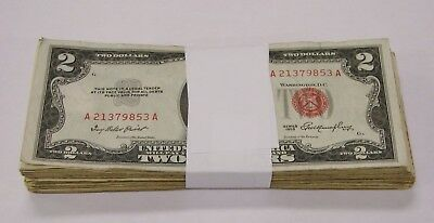 Mixed Lot of (100) 1953/1963 Red Seal $2 US Notes - Avg. Circ. / VG+ Condition