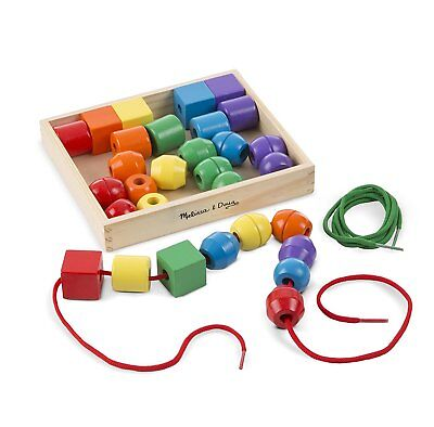 Melissa & Doug 544 Primary Lacing Beads Educational Toy 30 Wooden Beads 10544