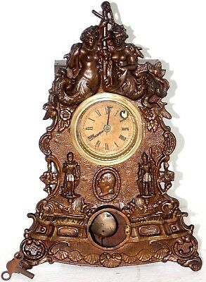 "ANTIQUE 19th c. VICTORIAN BRONZE IRON FRONT MANTEL CLOCK TITLED ""MERMAID TIMES"""