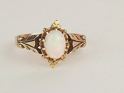 Antique Victorian British 10k yellow gold opal ring stamped size 6