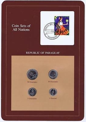 Republic of Paraguay 4 pc Mint Set BU 1984-86 Coin Sets of All Nations stamp