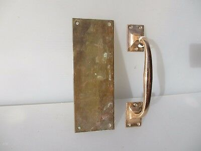 Antique Bronze Door Handle Set Shop Pull Finger Plate Vintage Edwardian Deco 8""