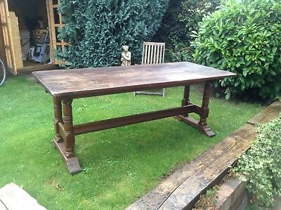 Vintage antique oak refectory dining table very heavy 6ft by 30 inches plank top