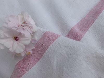 Vintage French Homespun Linen And Hemp Fabric Throw Tablecloth Fabric Red Stripe