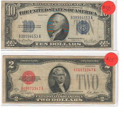 Mixed Lot of US Currency Series 1934 D $10 Silver Cert and Series 1928 A $2 Note