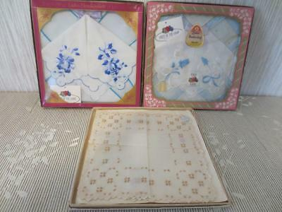 3 Vintage Boxes of Hankies Fruit of the Loom boxed Switzerland made