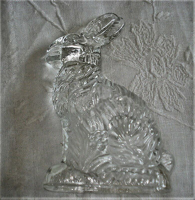 Vtg Heavy Pressed Glass Candy Container Beautiful Detailed Bunny w/ Flowers