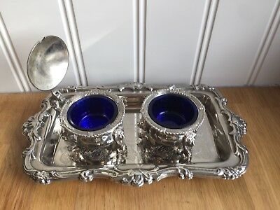 Heavy Vintage Silver Plated Salt & Mustard Pots With Blue Glass Liners With Tray