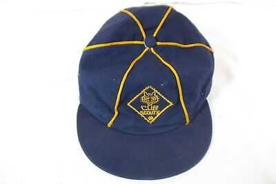 VTG Youth Cub Scouts of America Blue Gold Hat Size 6 3/4 BSA Cub Patch Cap