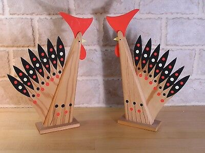 Mid Century Modern (2) Roosters Sweden Colorful Wood Vintage Decorative