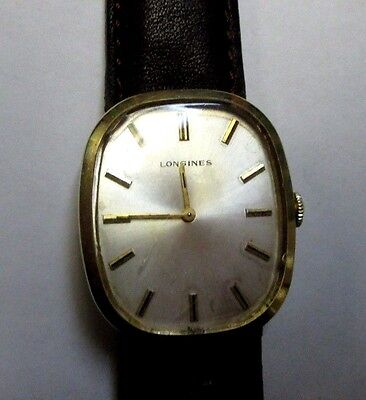 "VINTAGE LONGINES MEN'S WIND UP WATCH SWISS 1""X1 1/8""  FACE 10k GOLD FILLED"