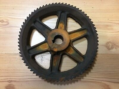 Vtg Cast Iron Metal Gear Pulley Wheel Industrial Steampunk Lamp Base 9 1/2""