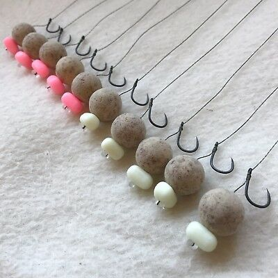10 X HAIR RIGS PRELOADED WITH 15mm DYNAMITE BAITS TIGER NUT POPUPS CARP