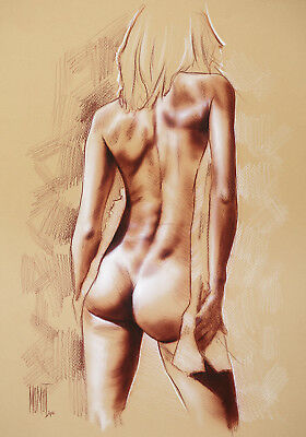 Original nude drawing by P. Momot signed, female nude PZD89
