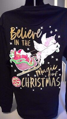 Simply Southern Long Sleeve: Believe in the Magic of Christmas (Unicorn) - Black
