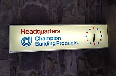 CHAMPION BUILDING PRODUCTS LIGHTED SIGN WITH WORKING CLOCK, 1970s