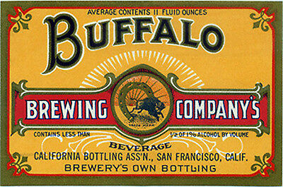 Buffalo Brewing Beer Label T Shirt San Francisco Ca Sizes Small-Xxxlarge (F)