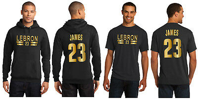 LeBron James LA Lakers Hoodie or T-Shirt Los Angeles Jersey Black w Shiny  Gold 66a2691f9