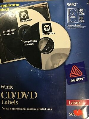 Avery® Laser CD Labels, Matte White, 40/Pack