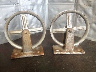 "2 Vintage Antique 5.5"" Pulleys Industrial Cast Iron Base Wall Hanging Lamp Parts"