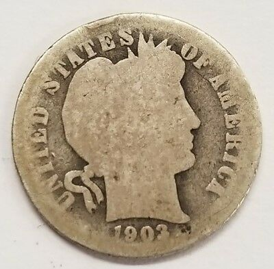 1903-S 10C Barber Silver Dime - Key Date / Low Mintage