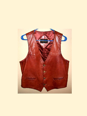 Vtg Buttery Aged Leather Vest w Engraved Buttons Made in Italy Sz Women M, Men S