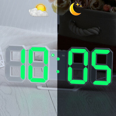 Green LED Digital Numbers Table Wall Clock Large 3D Display Alarm Snooze Clock